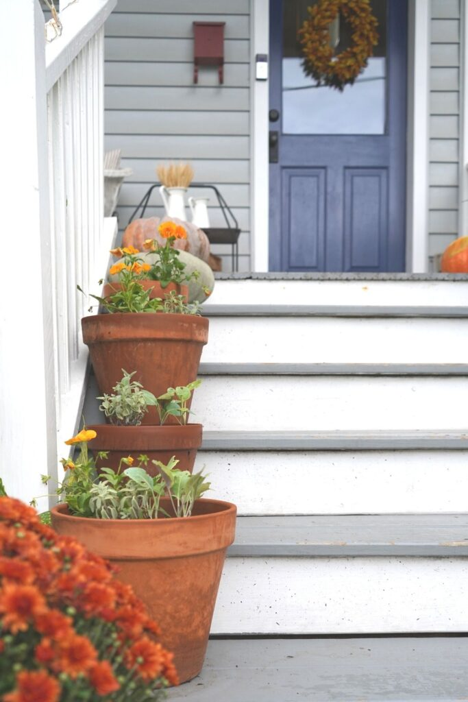 Fall Front Porch and Front Door