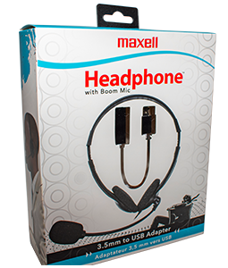 Stereo Headphones with USB Connection and Boom Mic