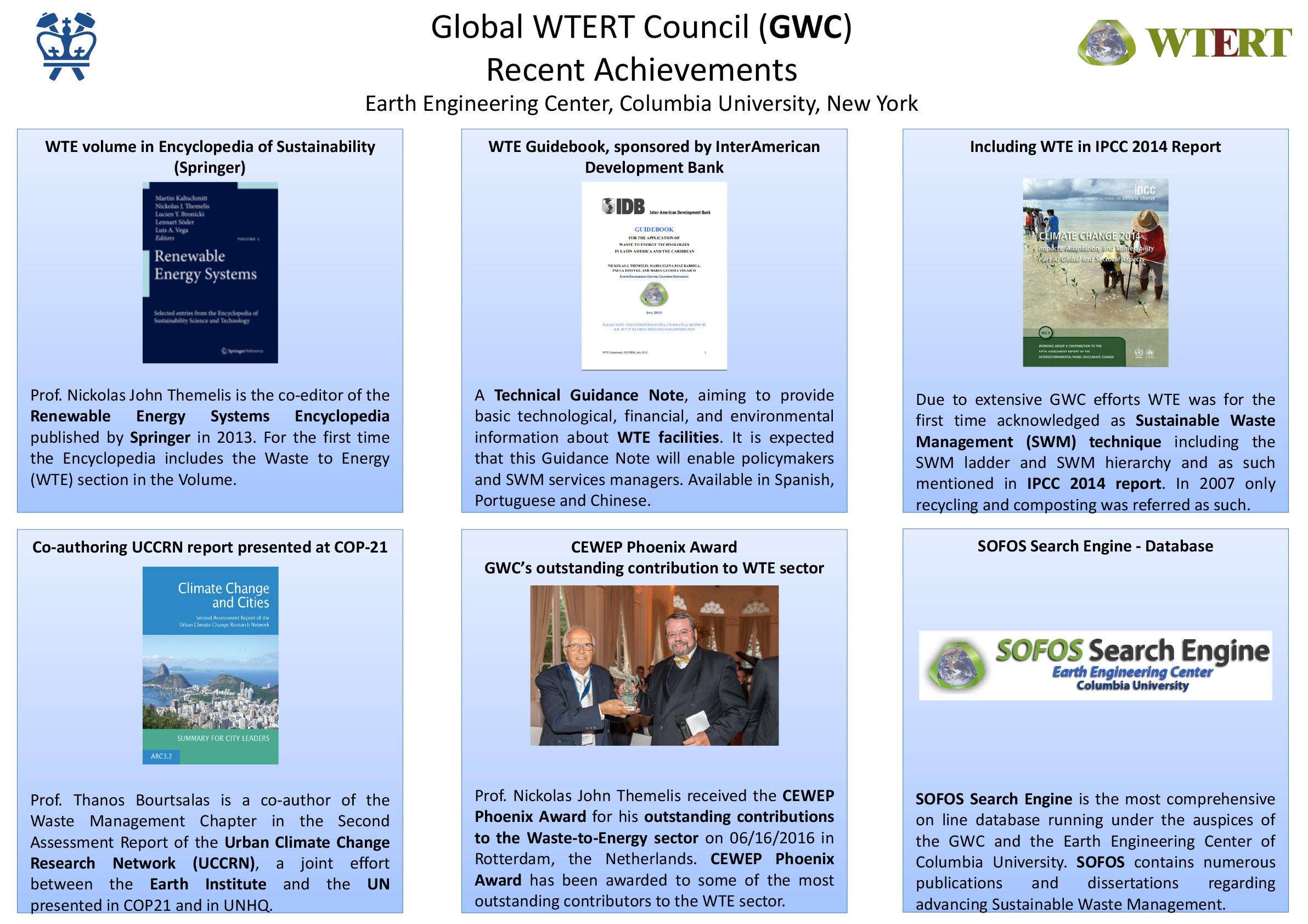 Global WTERT Council (GWC) Recent Achievements