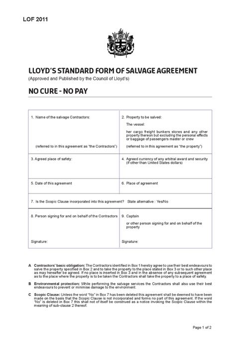 Marine Salvage and Lloyds Open Form
