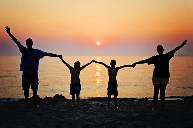 Silhouette Family With Two Boys