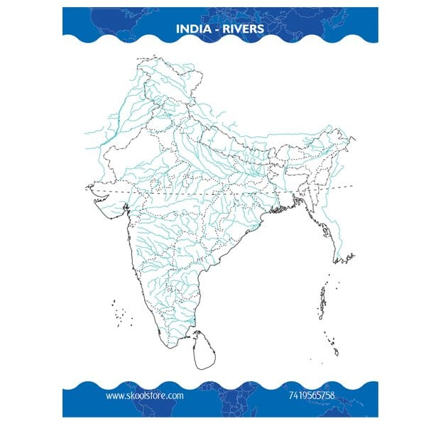 Reusable India River Map Practice Book(Reusable Book) - Skool Store