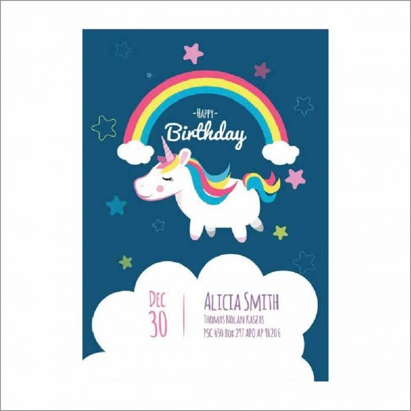 Birthday Party Card with Unicorn (Pack of 20)