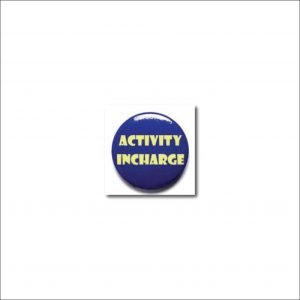 Activity Incharge blue colour button badges (Pack of 2)
