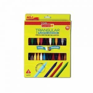 Camlin Kokuyo Triangular Plastic Crayons with Sharpner and Eraser, 26 Shades (Multicolor)