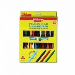 Camlin Kokuyo Triangular Plastic Crayons with Sharpner and Eraser, 26 Shades (Multicolor)