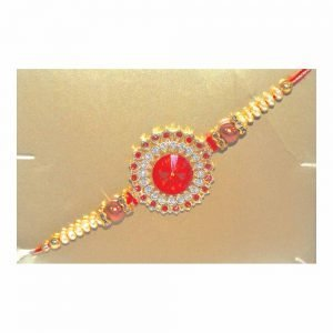Red Flower American Diamond Rakhi for your Brother (Pack of 6)
