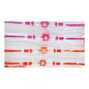 Pink & Orange Colour Beautiful Rakhis for your brother Set of 6