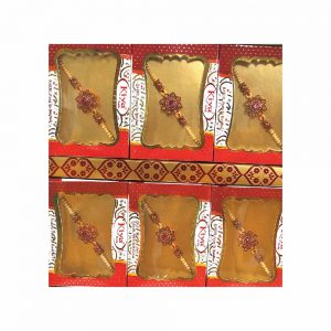 Red Flower American Diamond Rakhi for your Brother (Pack of 6) 2