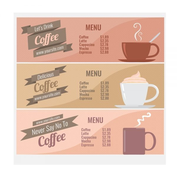 coffee shop menu card printing online in in India and Near me