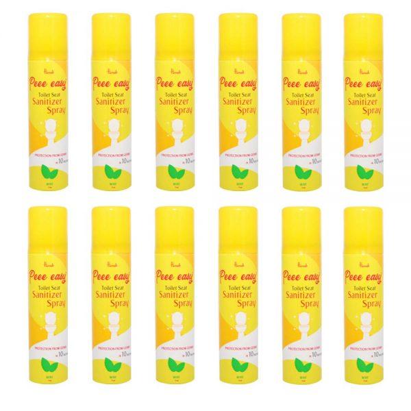 Peee Easy Toilet Seat Sanitizer Spray - 75 ml (Mint) (Pack of 12)