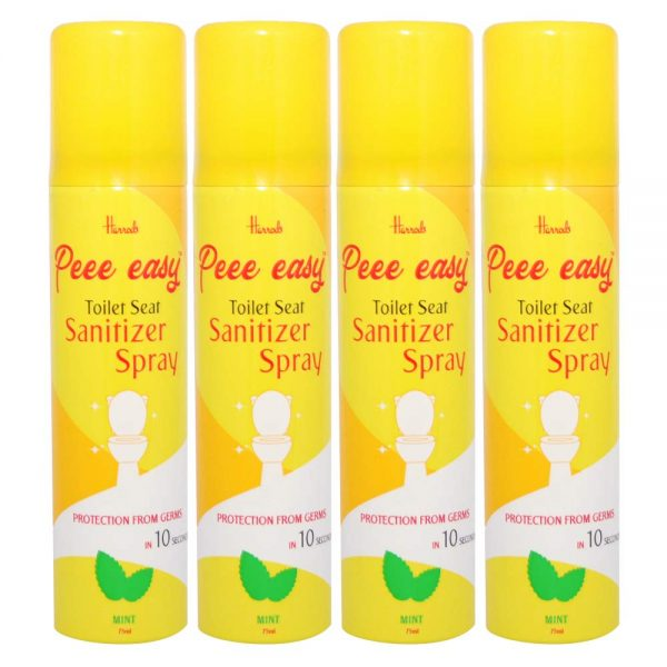 Peee Easy Toilet Seat Sanitizer Spray - 75 ml (Mint) (Pack of 4)