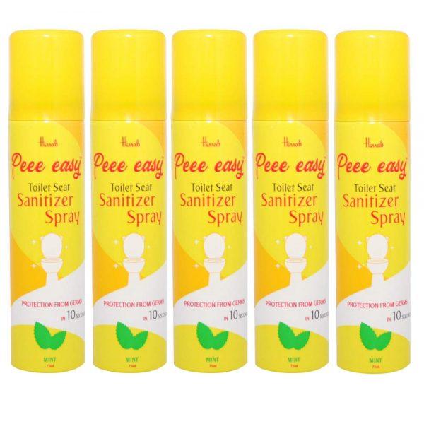 Peee Easy Toilet Seat Sanitizer Spray - 75 ml (Mint) (Pack of 5)