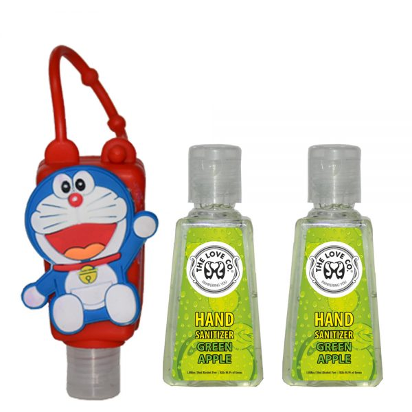 The Love Co. Hand Sanitizer Pack Of 2 (Green Apple) 30 ml With Bag Tag (Doremon Red)