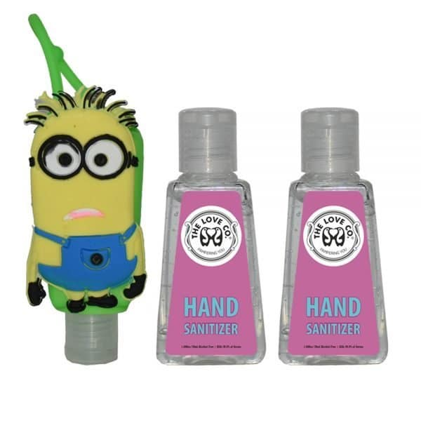 The Love Co. Hand Sanitizer Pack Of 2 (IPA) 30 ml With Bag Tag (Mark the minions Green)