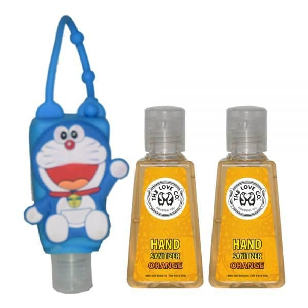The Love Co. Hand Sanitizer Pack Of 2 (Lemon) 30 ml With Bag Tag (Doremon Sky Blue)