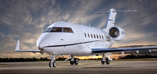 Aircraft Challenger 604 on the tarmac