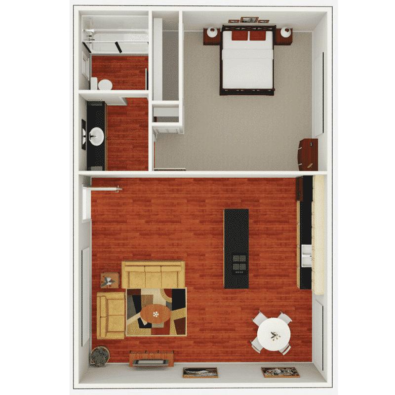 1 bed 1 bath 564 Sq. Ft. floor plan