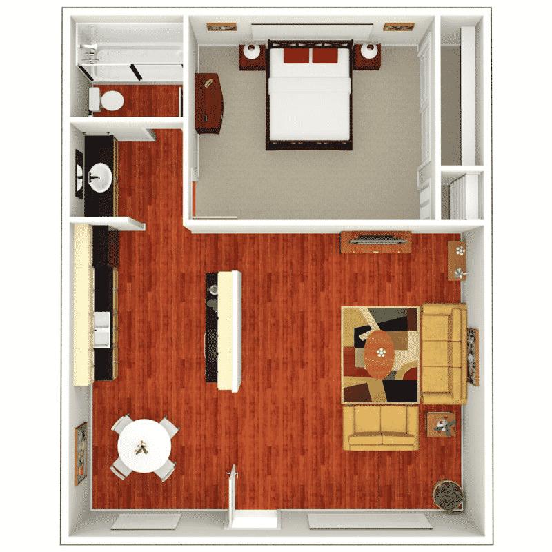 1 bed 1 bath 507 Sq. Ft. Floor plan