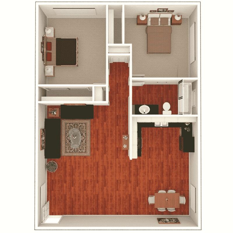 2 bed 1 bath 764 Sq. Ft. floor plan