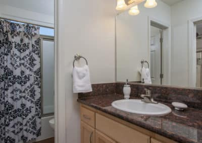 Bathroom with granite counter and sink with door to toilet and shower/bathtub