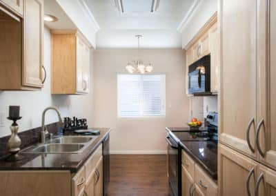 Kitchen with black granite counters and custom maple cabinets