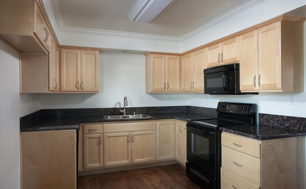 Kitchen with cabinets and black countertops with black appliances
