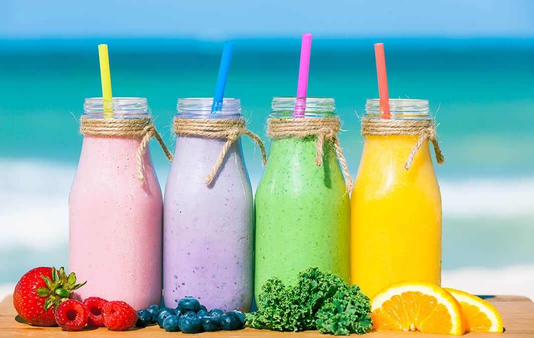 Colorful Smoothies on a glass