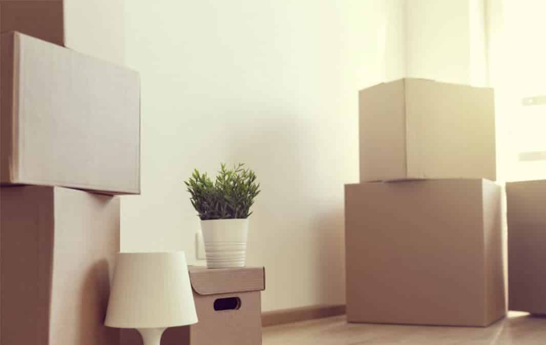 Boxes sitting on floor