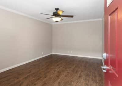 Ceiling fan and apartment door open