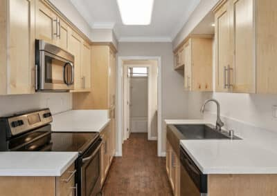 Kitchen with granite counters and custom maple cabinets