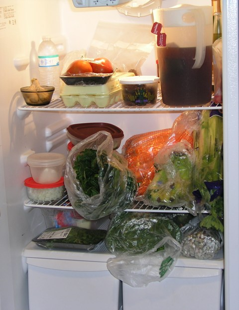Photo of groceries in the fridge