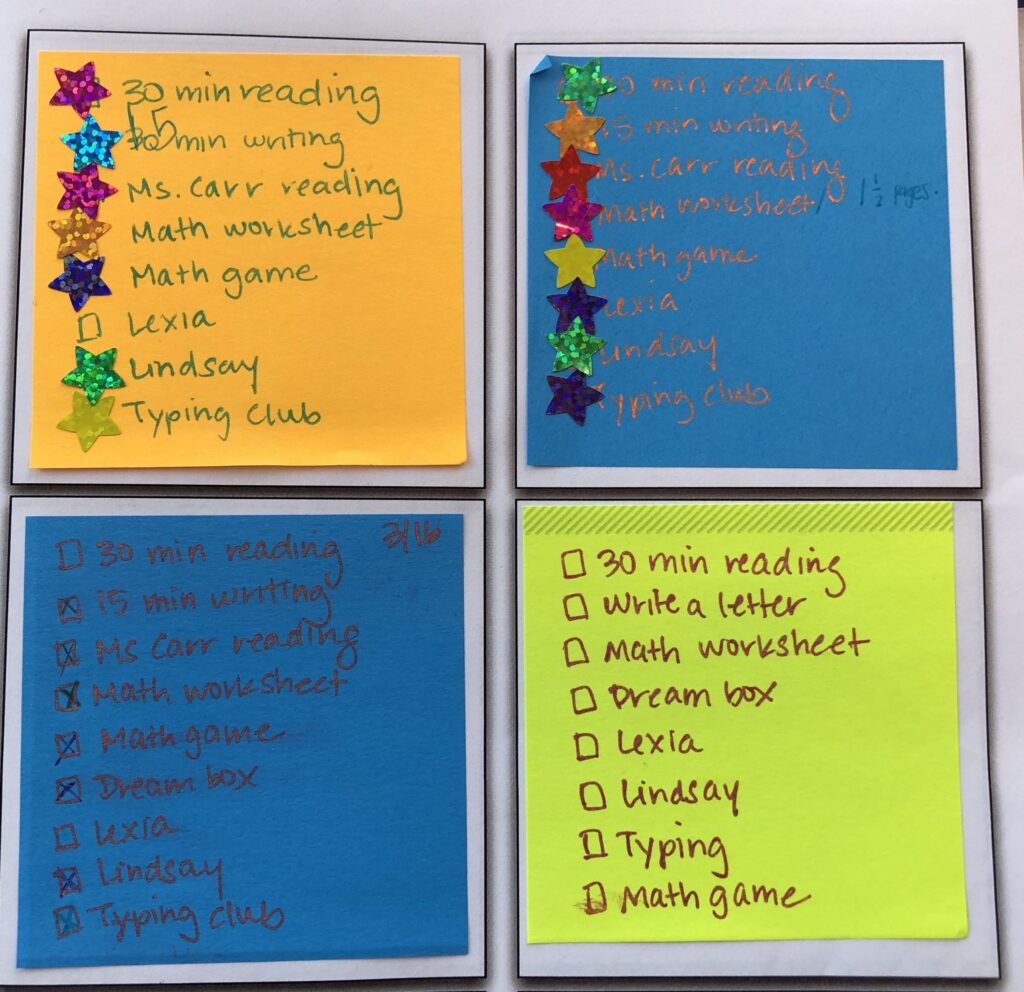 "Four post-its with tasks for each day written on each.  The first one has 30 minutes of writing crossed off with 15 minutes of writing written on it.  The second and third post-its have a list of daily homework with 15 minutes writing.  The 4th post-it has daily homework with ""write a letter"" as one of the tasks."