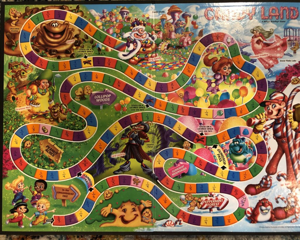 Image shows a candy land board with fraction values written on each of the squares.