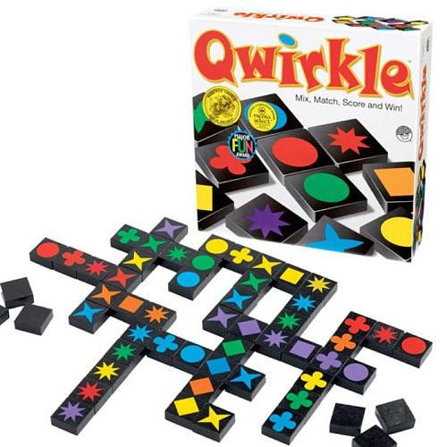 Image showing the game box and game pieces from qwirkle game.