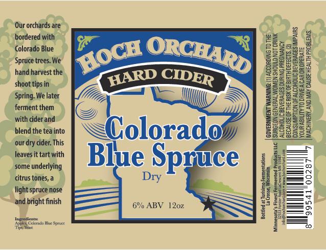 "Turisimo Fermentations Releasing Hoch Orchard Hard Cider ""Colorado Blue Spruce Cider"""
