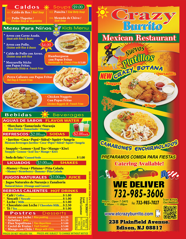 Crazy Burrito Menu Page 1
