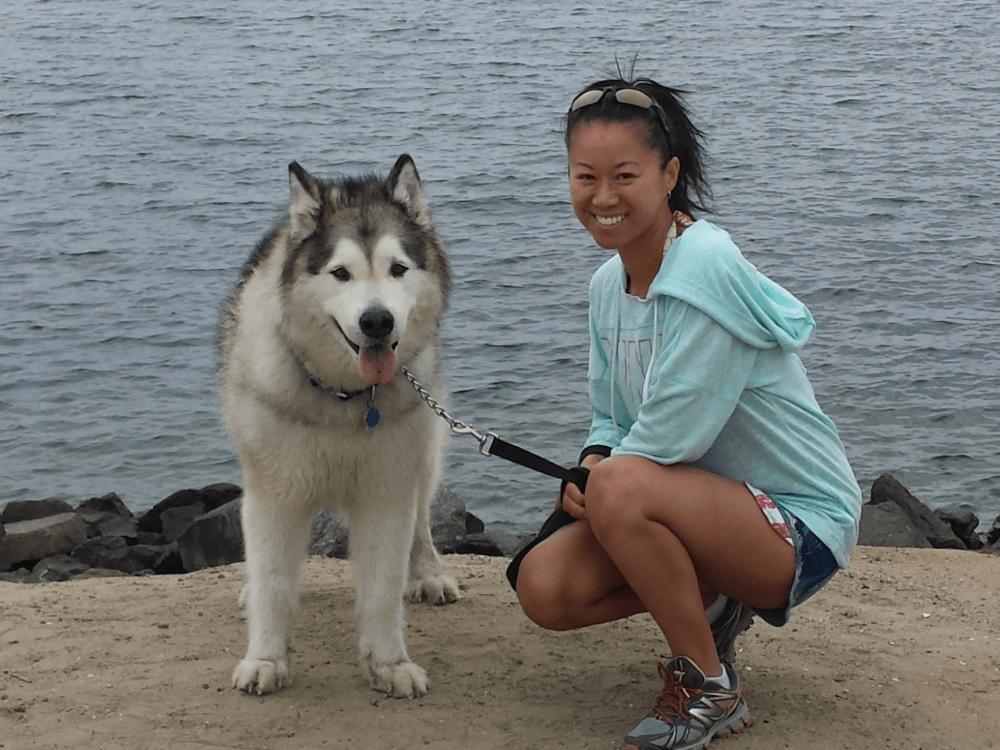 Christina Kwan and Brooklyn the Alaskan Malamute