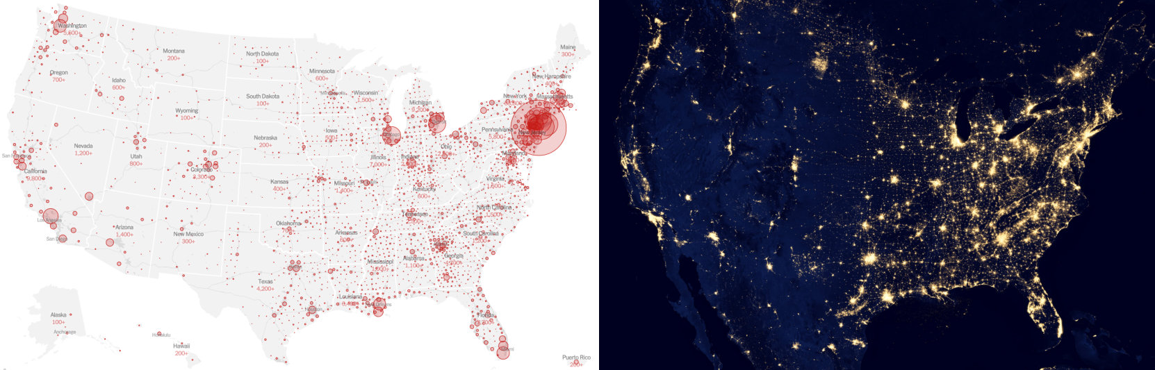 Map showing the correlation between population density and COVID-19 cases.