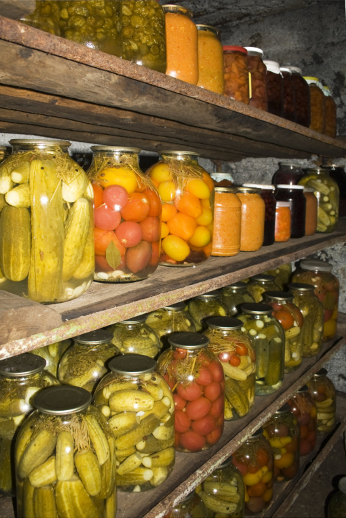jars of canned and pickled foods