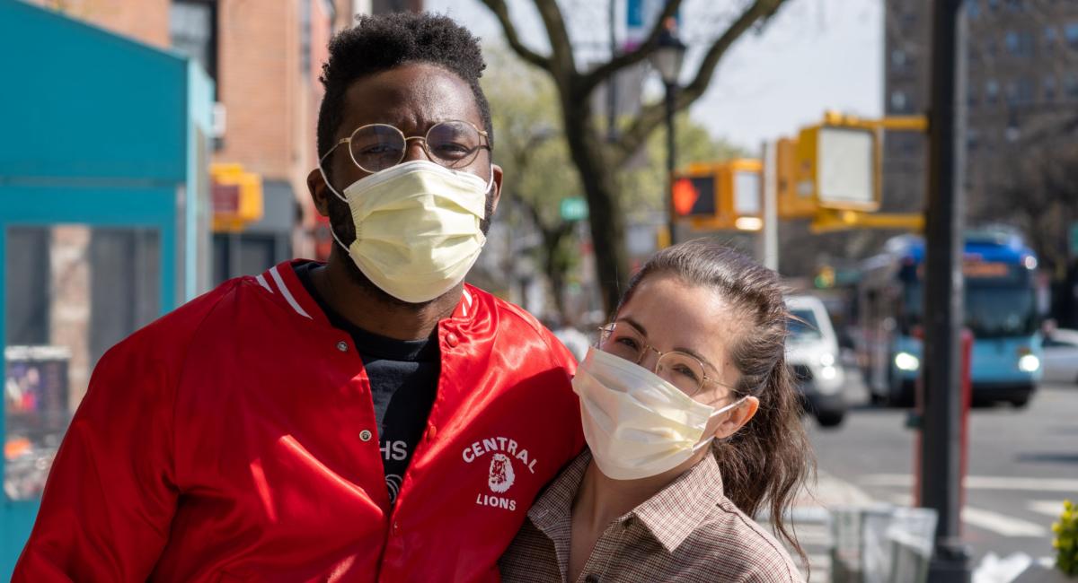 Couple wearing facemasks