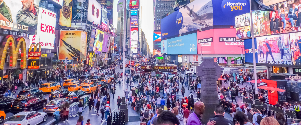 Crowded streets at Times Square