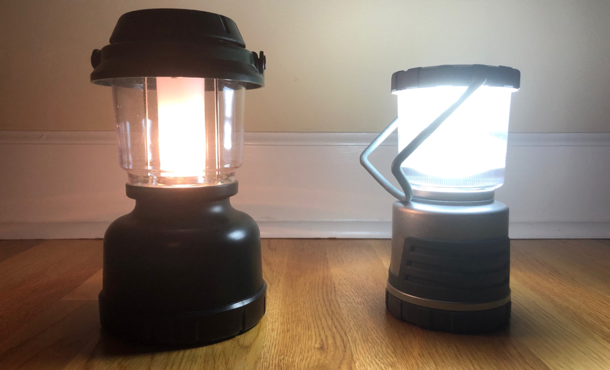The LED Light (on right) is brighter than the incandescent bulb lantern