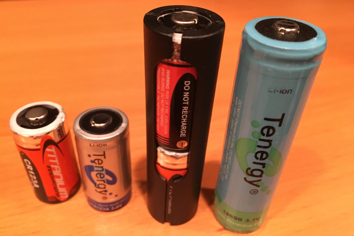 examples of CR123s and 18650 batteries