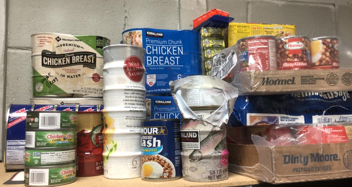Canned meats on a shelf