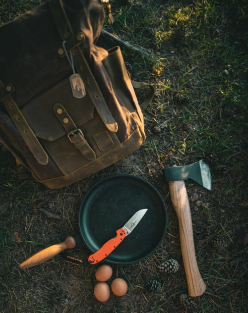 A knife and a hatchet