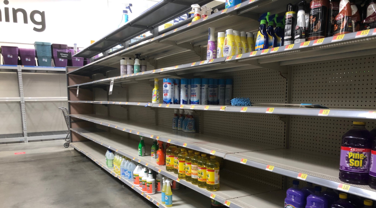 empty shelves at Walmart