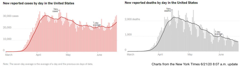 COVID-19 cases and deaths in charts from the New York Times on 6-21-20