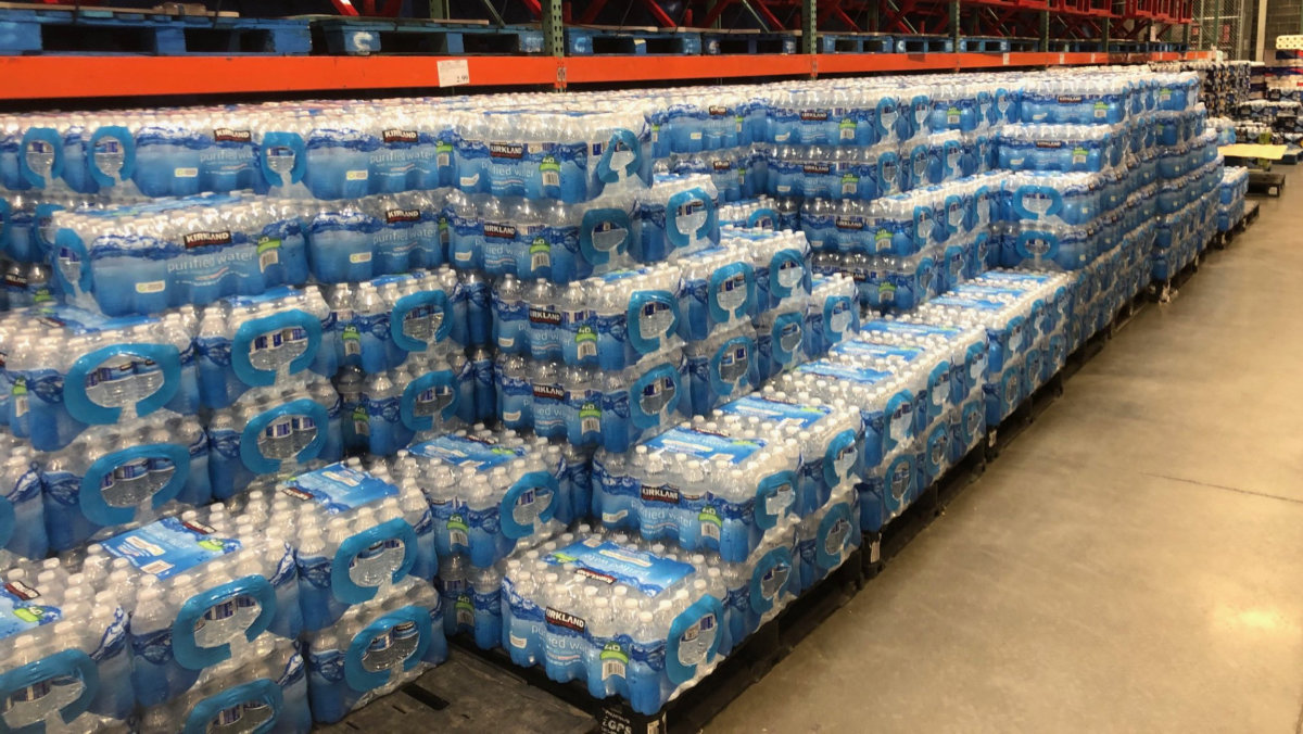 Bottled water as far as the eye can see.