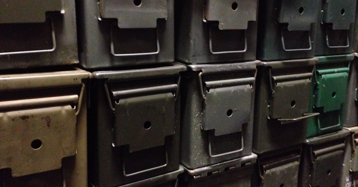Stacks of ammo cans